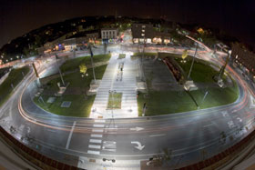 Time lapse photograph of the Winooski rotary at night
